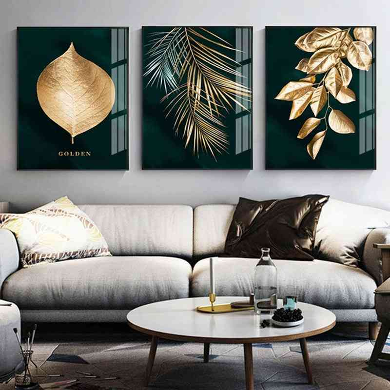Modern Style Abstract Golden Plant Leaves Canvas Print Painting - Living Room Wall Artwork