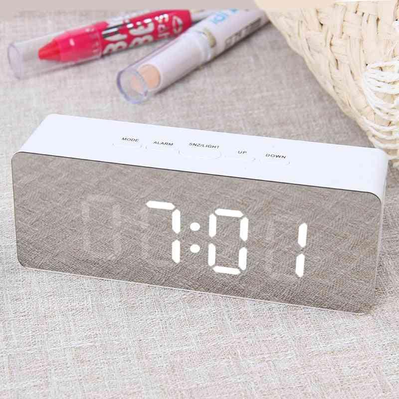 Digital Mirror Led Alarm Night Lights Thermometer Alarm Clock - Multi-function Alarm Desk Clock