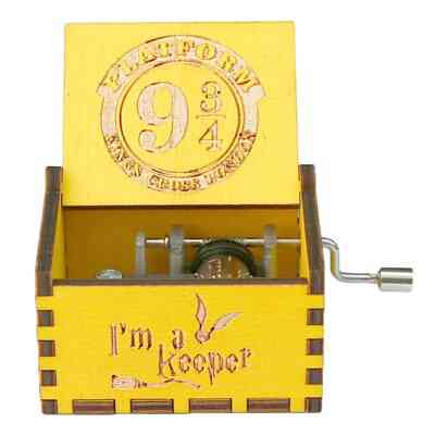 Platform 9 3/4 King's Cross London Wooden Hand Crank Yellow Music Box - Harry Potter Collectible