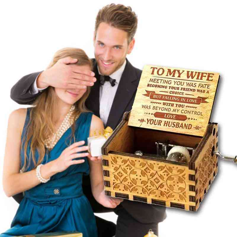 You Are My Sunshine, For Your Wife - Falling In Love With You - Mini Pine Engraved Antique Wooden Hand Crank Music Box