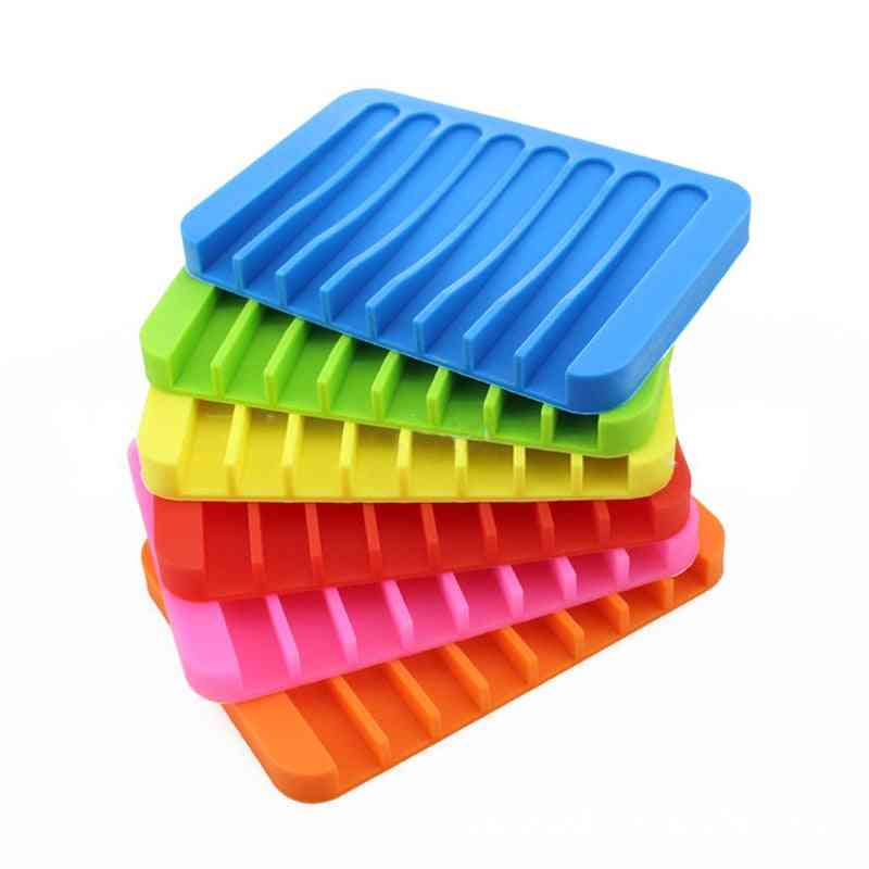 Anti Skidding Silicone Flexible Soap Trays, Dishes For Home, Bathroom