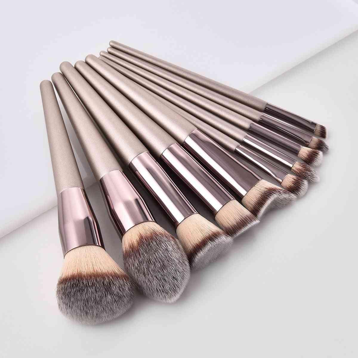 Champagne Makeup Brushes Set For Foundation Powder Blush Eyeshadow Concealer Lip Eye Makeup Brush Cosmetics Makeup Set