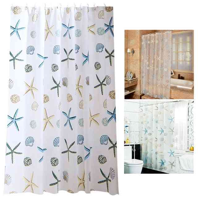 Waterproof And Printed Shower Curtain For Bathroom