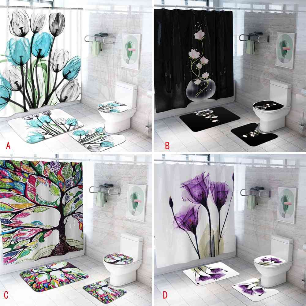 Colorful Tulip Lotus Flowers Trees Shower Curtain Sets And Bath Mat