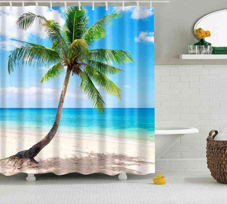 Green Tropical Plants Printed Shower Curtains