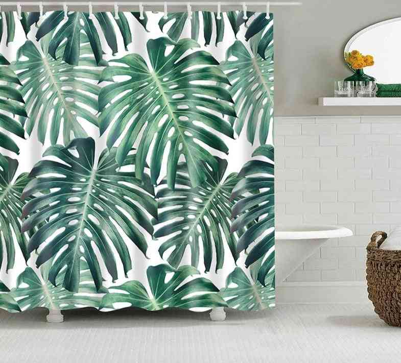 Tropical Plants, Green Leaves Printing Shower Curtains