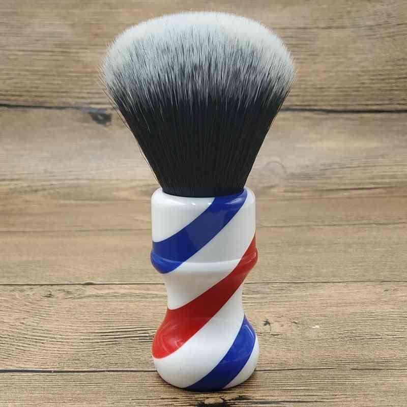 Tuxedo Synthetic Hair Knots Barber Pole Handle Shaving Brush