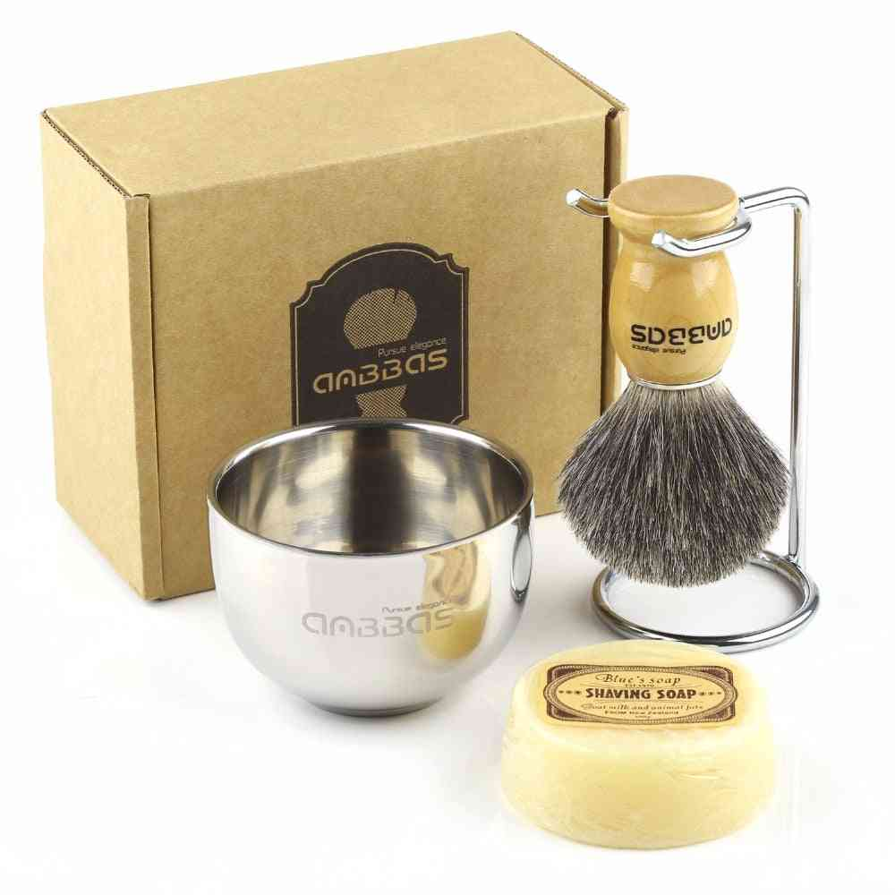 Genuine Badger -wood Handle Stainless Steel Shaving Stand And Soap Cup