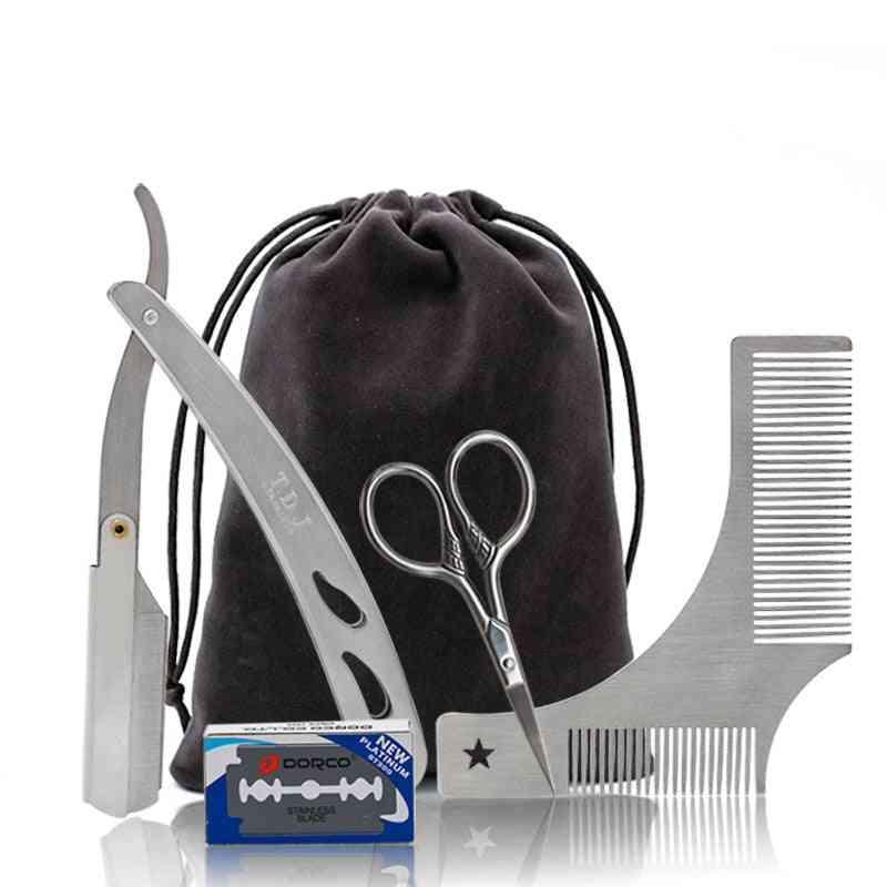 Beard Grooming Kit - Trimming Shaving Brush Comb Beard Set