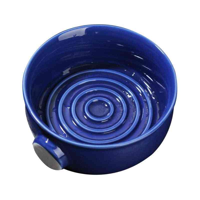 Ceramic Shaving Lather Bowl, Thread Bottom Wide Mouth Wet Shaving Pottery Soap Cream Mug