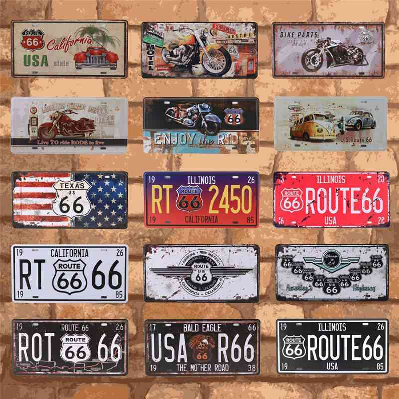 Vintage Metal Tin Signs - Bar, Club, Wall Garage Usa, Route 66 Car Number License Plate, Plaque Home Decoration