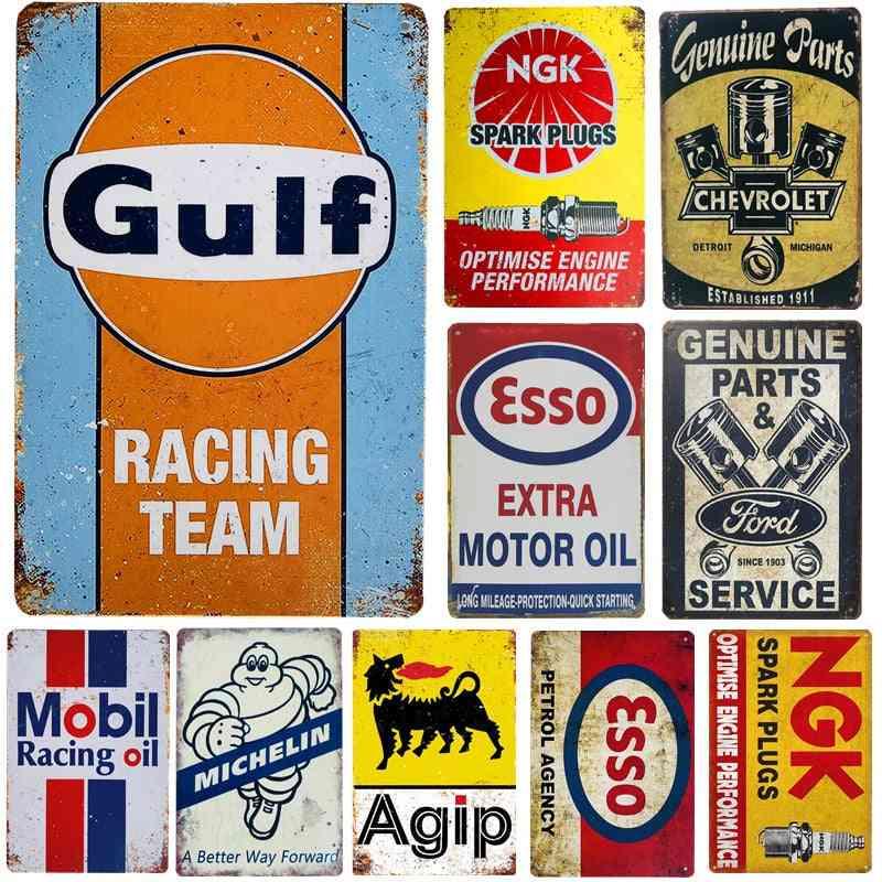 Vintage Gasoline, Motor Oil, Garage Service Wall Decor Metal Tin Signs