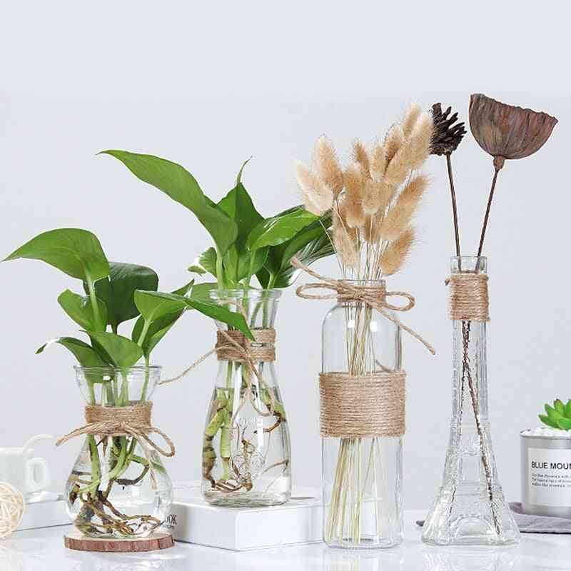 Nordic Style Rope Glass Vase - Living Room Table Decoration Transparent Water Hydroponics Flower Rope Dry Flower Vase, Diy Valentine's Day Decor