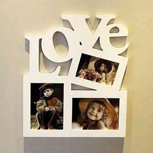 Wooden Diy Hollow Love Letter Family Photo Picture Holder/photo Frame