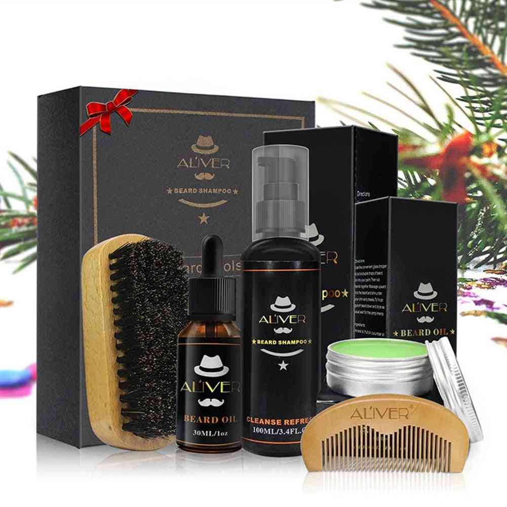 Beard Care, Cleaning, Styling Set With Essential Shampoo, Brush, Comb, And Oil