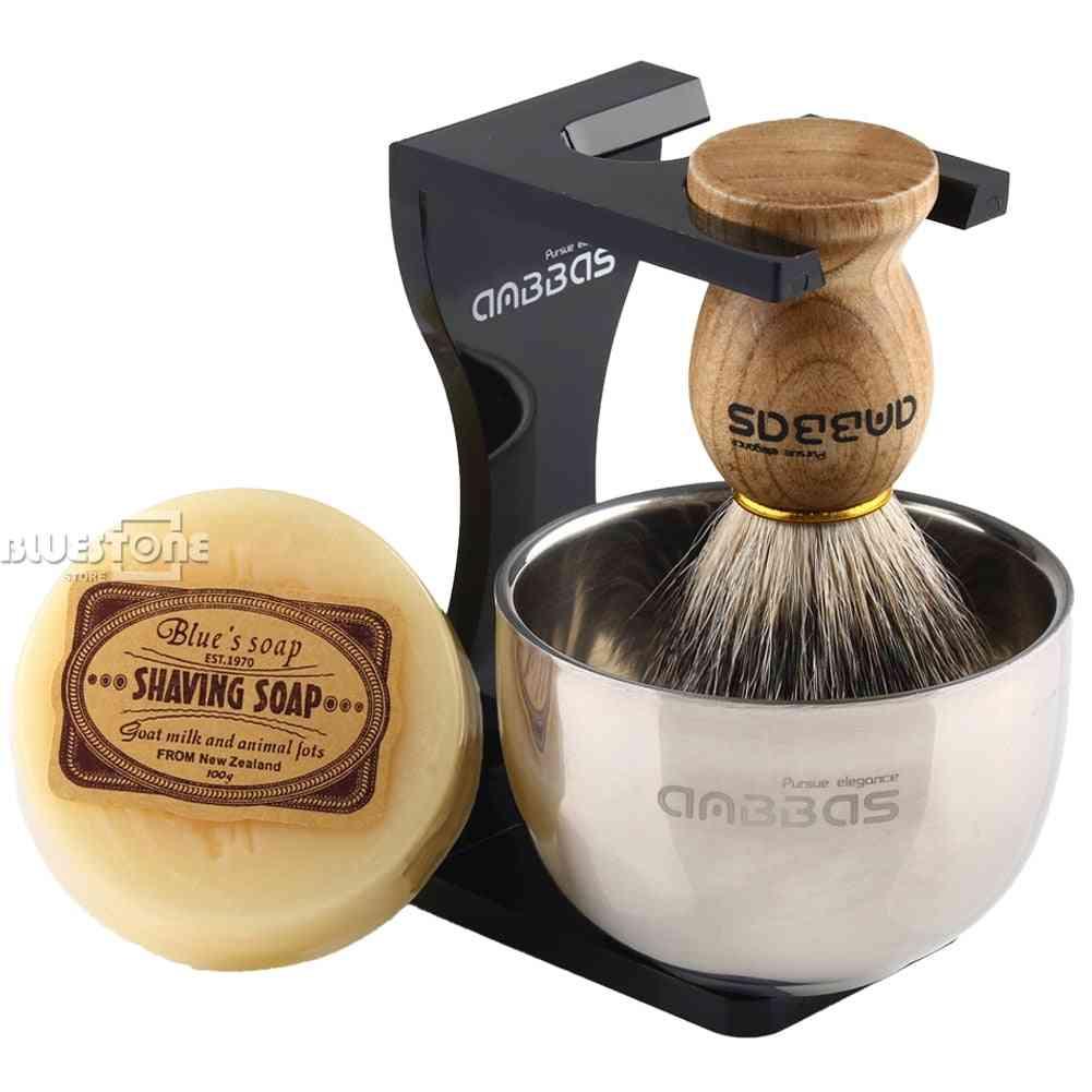Barber Badger Hair + Black Acrylic Stand + Bowl + Soap Set