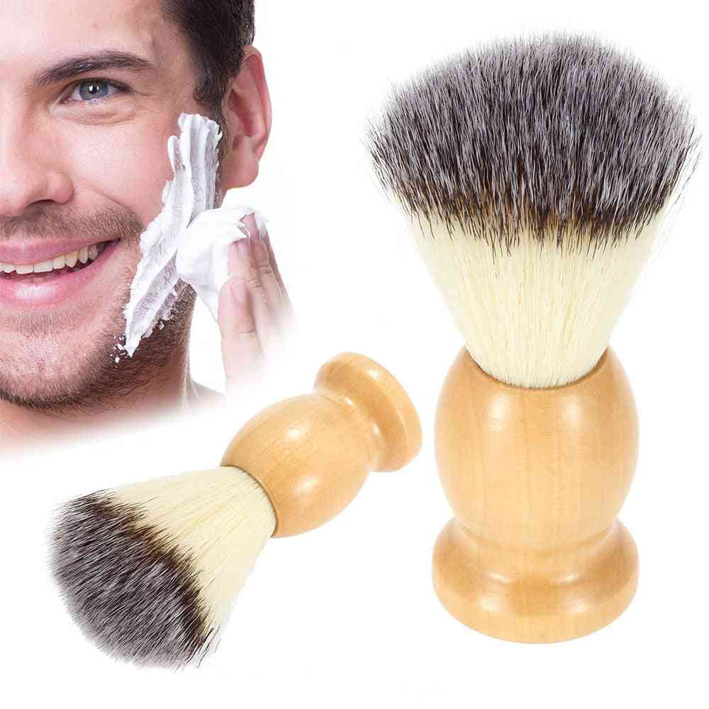 Professional Men's Pure Nylon Hair-shaving Brush With Wooden Handle