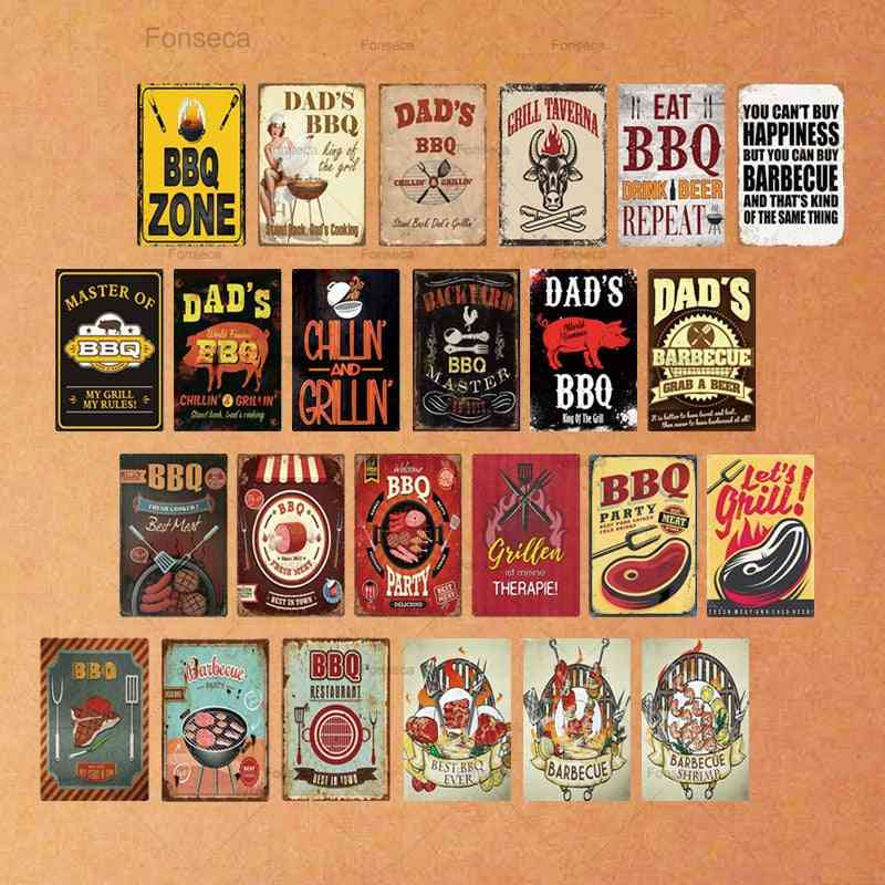 Vintage Dad's Bbq Metal Tin Sign - Plaque Metal Wall Decor For Barbecue, Bar, Pub, Kitchen, Party Zone Metal Signs/iron Painting