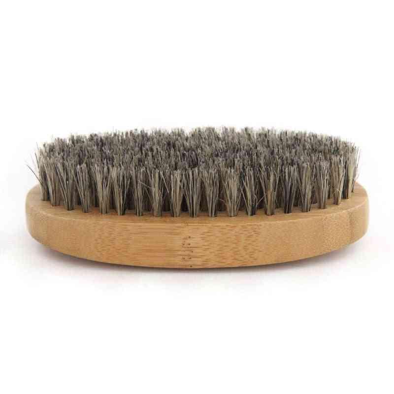 Natural Hemu Beard Brush - Bamboo Face Massage