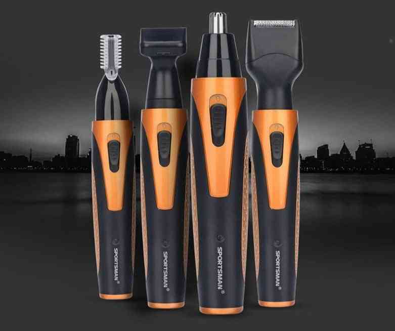 4 In 1 Portable Rechargeable Nose Ear Hair Trimmer Set - Wireless Beard Shaver