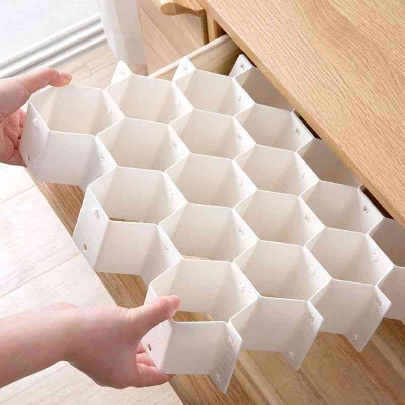 Honeycomb Shape Drawer Organizer, Plastic Partition For Small Clothing And Cosmetic Clapboard