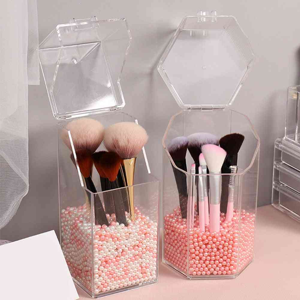 Pearl Clear Acrylic Cosmetic Organizer - Makeup Brush Container, Storage Box