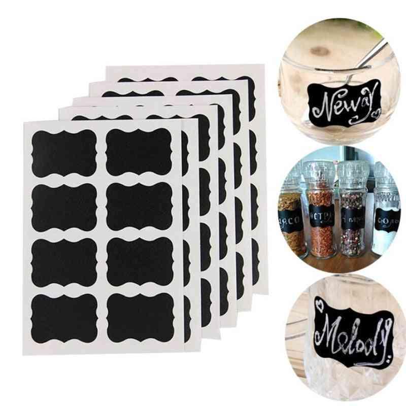Blackboard Spice Label Stickers For Kitchen Jar, Storage Organizer, Bottles