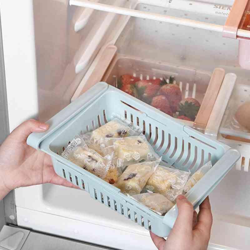 Adjustable Kitchen, Refrigerator Storage Rack - Fridge Freezer Space Saver Drawers