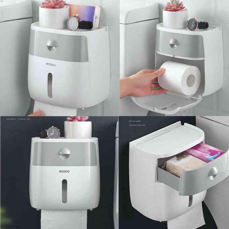 Waterproof Wall Mount Toilet Paper Holder & Storage Box