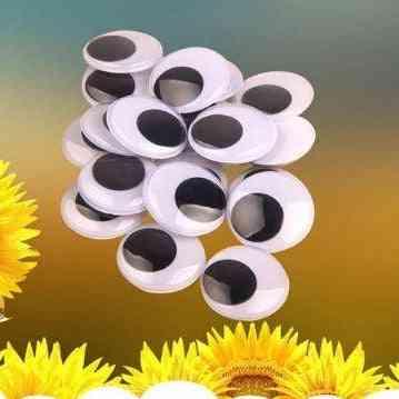 Plastic Self Adhesive Fake Round Elliptical Wiggle Googly Doll Toy Eyes 100pcs