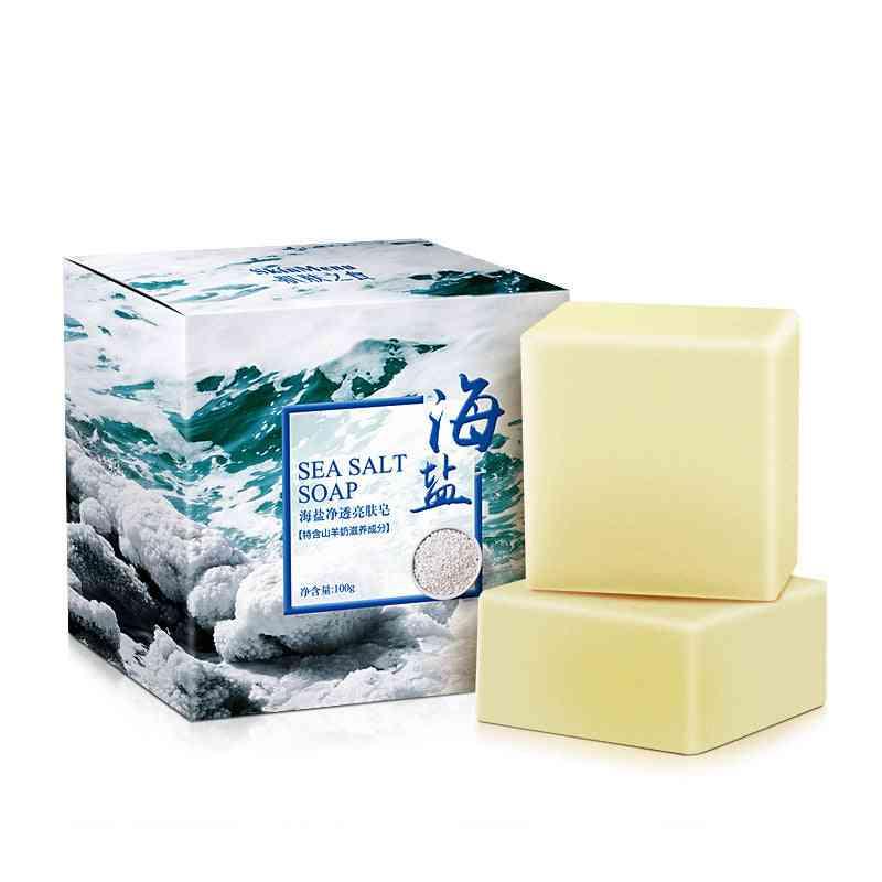 Sea Salt Soap Cleaner , Removal Pimple Pores , Acne Treatment- Goat Milk Moisturizing Face Care Wash Basis Soap