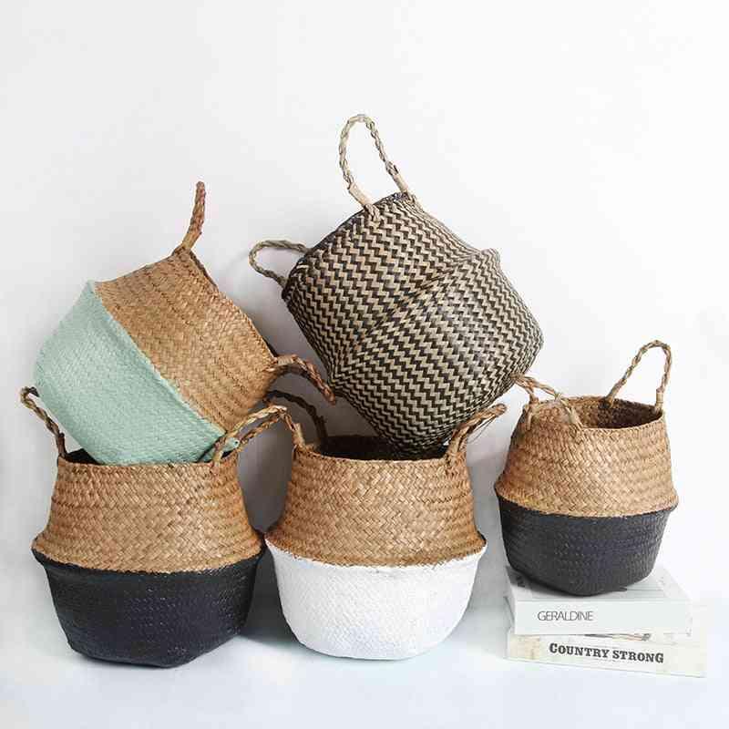 Seagrass Storage Baskets Wicker Hanging Flower Pot