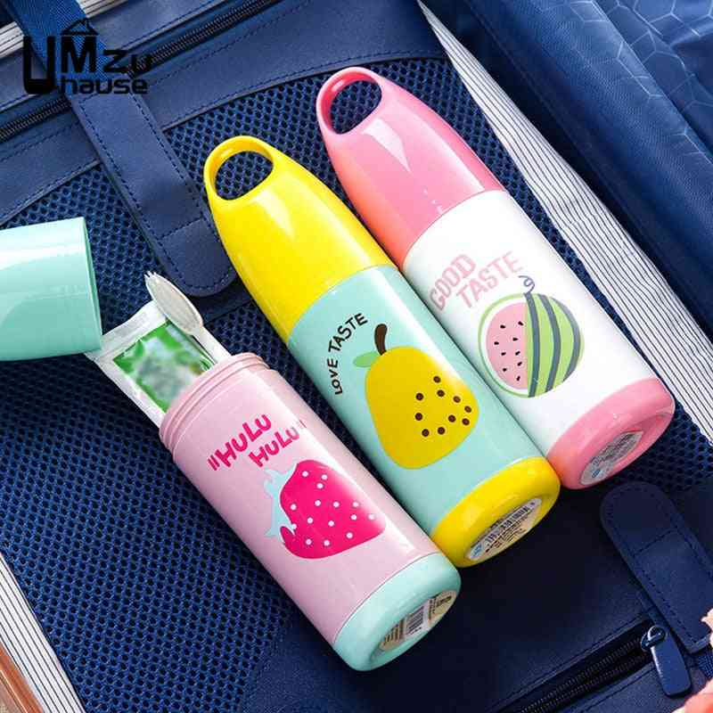 Fruit Pattern Travel Toothbrush And Toothpaste Cup With Cover - For Home And Bathroom Organization