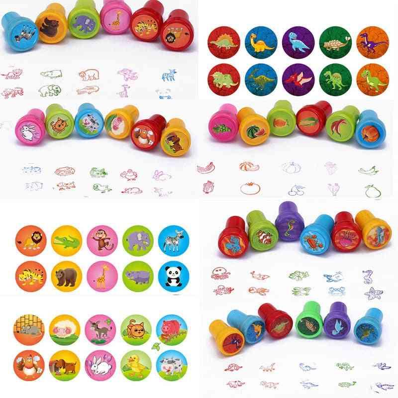 Round Shape, Multicolor, Cute Cartoon Design Rubber Stamps