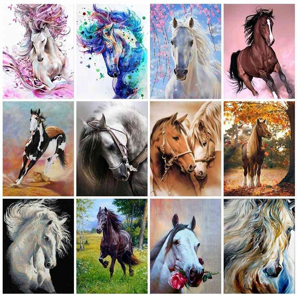 Diy Horse Diamond Embroidery Cross Stitch Canvas - Diy Diamond Painting Horse Mosaic Rhinestones Home Decor