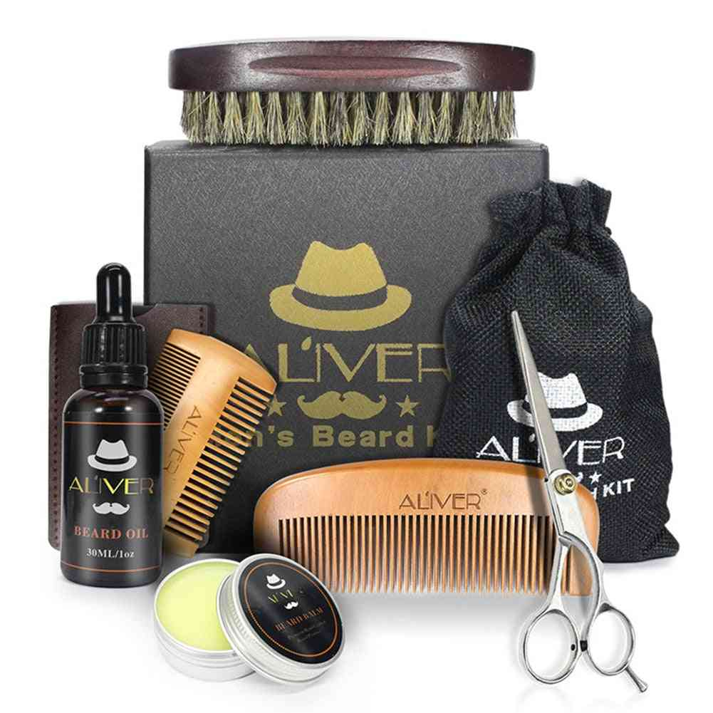 Men Trimming Beard Care Kit- Scissor, Comb, Oil Growth Styling Shaping