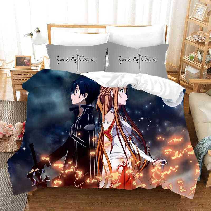 3d Printed Sword Art Bedding Sets, Quilt Cover And Pillowcase