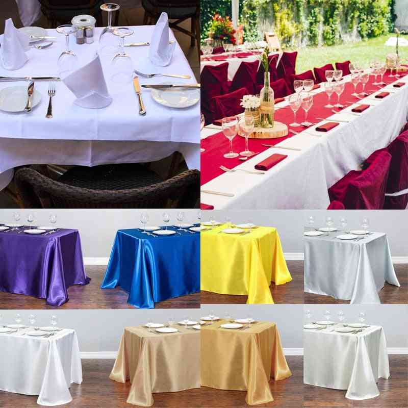 Satin Rectangular Table Cloth For Wedding, Hotel Banquet, Party, Christmas, Home Decoration