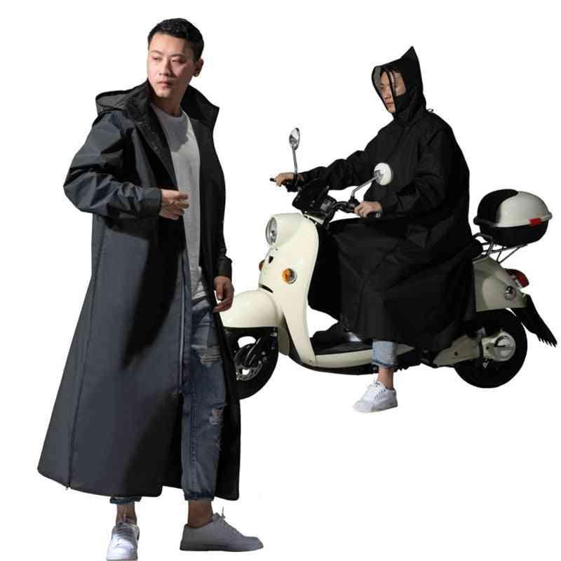 Zipper Hooded Poncho Motorcycle Rainwear - Long Style Hiking Poncho Environmental Rain Jacket
