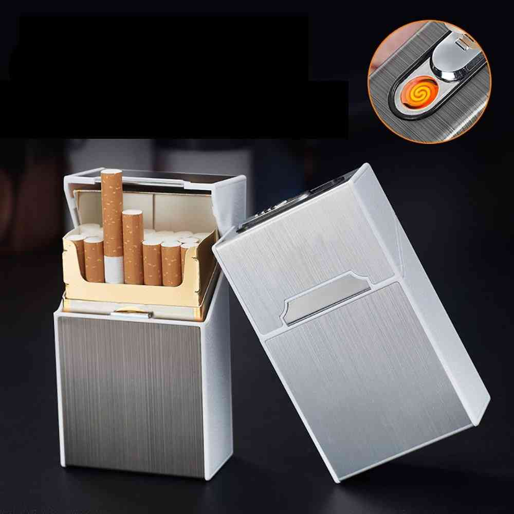 Usb Rechargeable And Windproof Metal Cigarette Case
