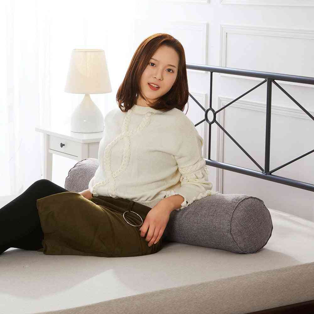 Solid Color Round Removable Washable Lumber Cushion - Bed Roll Head, Leg, Back Support Light Travel Column Pillow