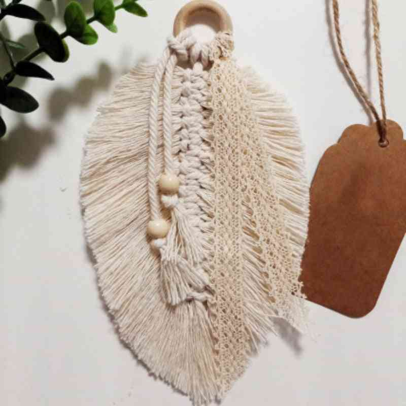 Home Decoration Wall Hanging Macrame - Feathered Charm Hanging For Car, Wall, Door