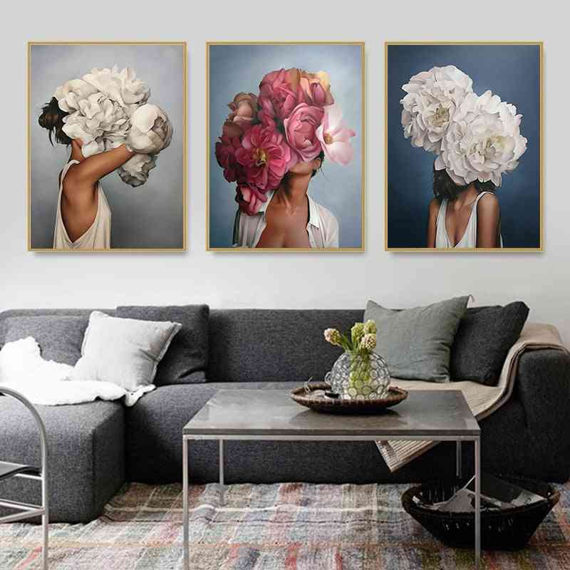 Nordic Modern Floral Feather Woman Abstract Fashion Style Canvas Painting - Home Decor Art Print