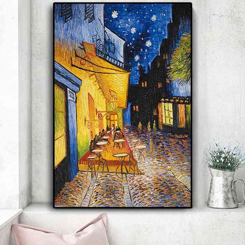 Famous Oil Painting Reproductions On Canvas Posters And Prints - Van Gogh Cafe Terrace At Night Wall Art Picture For Living Room