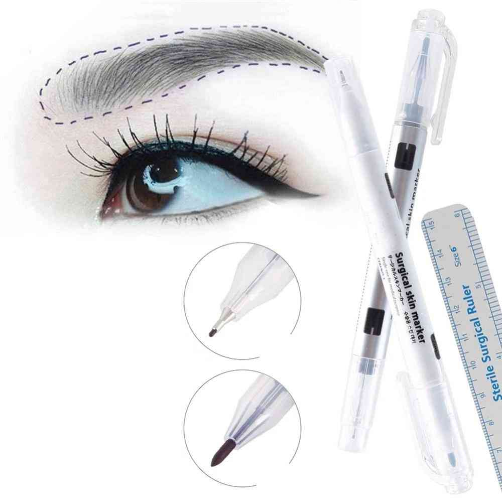 Surgical Skin,eyebrow, Tattoo Marker Pen With Measuring Ruler
