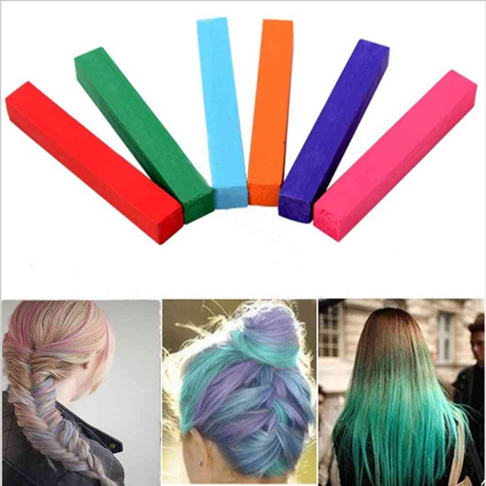 Temporary Crayons Hair Color Mascara For Dye - Alcohol Free And Non Toxic Colorful Chalks For Party Makeup
