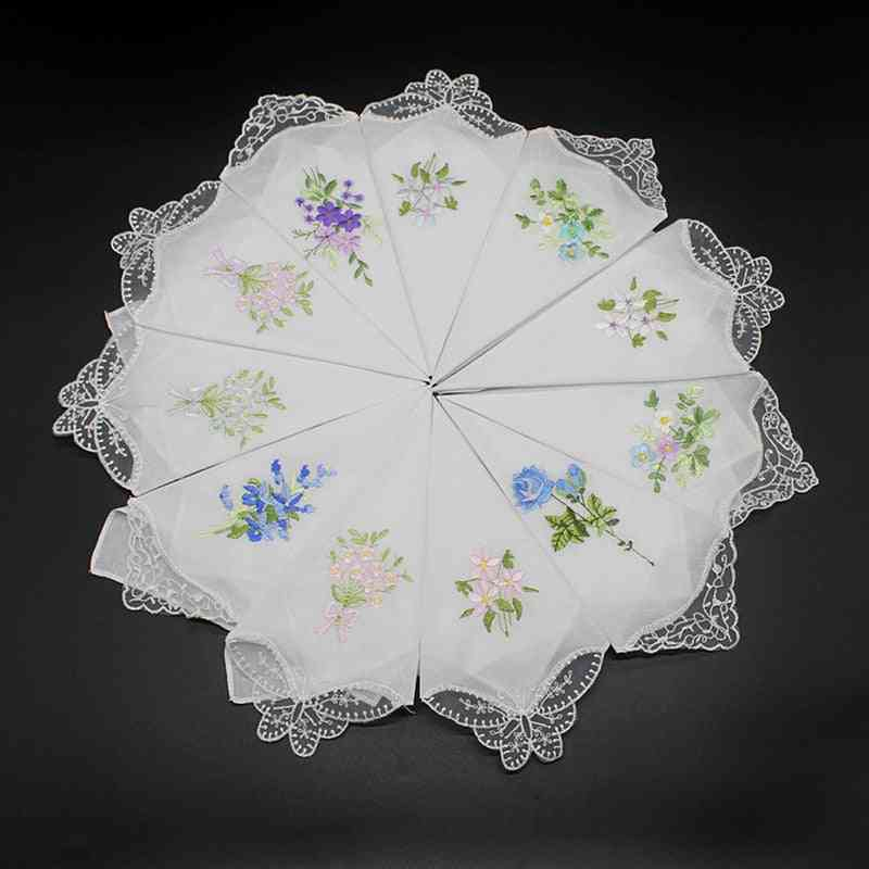 Embroidered Butterfly Luxury Hankies For Women - Lace Flower Hanky Cloth For Ladies