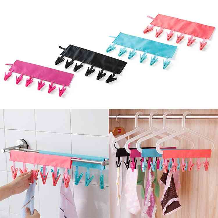 Foldable Portable Hanger Fabric Tie Racks, Clips For Clothes Towel Socks