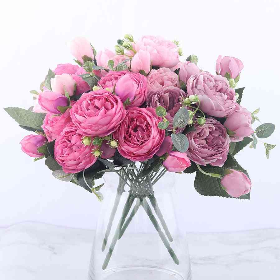 Silk Peony Artificial Flowers Bouquet For Home Wedding Decoration