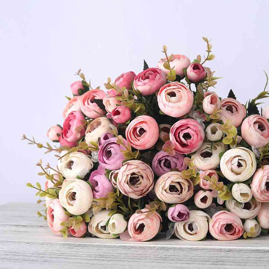 European Vintage, Artificial Silk - Tea Rose Flowers Bouquet For Wedding Decor